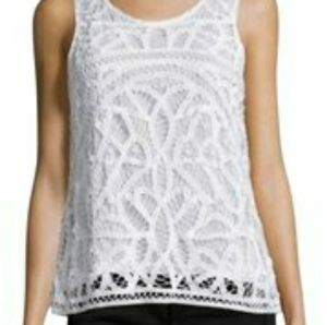 Joie Porcelain Bindi lace top large NWT